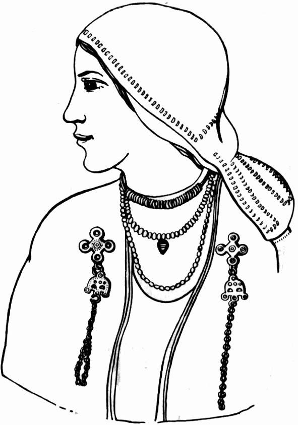 реконструкция женского наряда ливов X-XII вв. (по В.В. Седову)