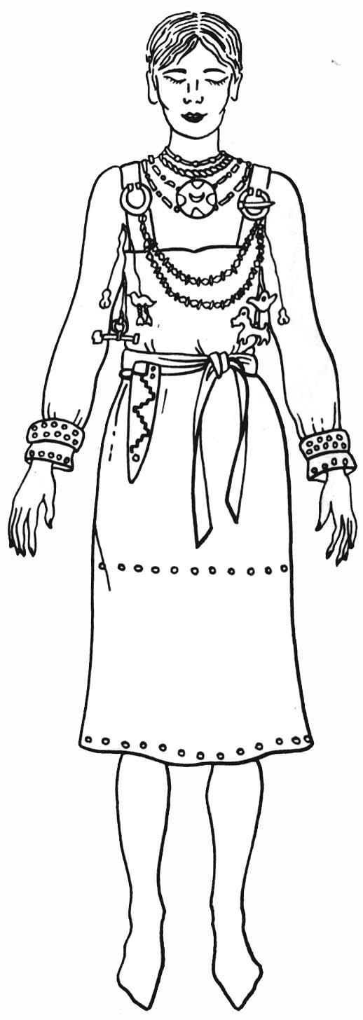 женский костюм веси XI в. Реконструкция Л.А. Голубевой по материалам раскопок А.М. Линевского на р. Ояти